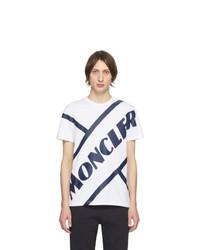 Camiseta con cuello circular estampada en blanco y azul marino de Moncler