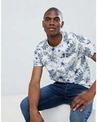 Camiseta con cuello circular estampada en blanco y azul de Burton Menswear