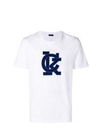 Camiseta con cuello circular estampada en blanco y azul de Calvin Klein