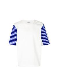 Camiseta con cuello circular estampada en blanco y azul de Dima Leu