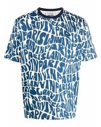 Camiseta con cuello circular estampada en blanco y azul de Lanvin