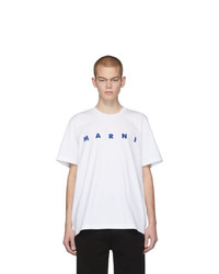 Camiseta con cuello circular estampada en blanco y azul de Marni