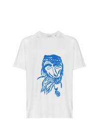 Camiseta con cuello circular estampada en blanco y azul de Our Legacy