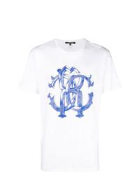 Camiseta con cuello circular estampada en blanco y azul de Roberto Cavalli