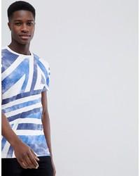 Camiseta con cuello circular estampada en blanco y azul de Tom Tailor