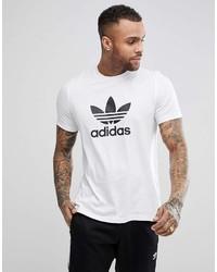 Camiseta con cuello circular estampada en blanco y negro de adidas