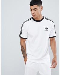 Camiseta con cuello circular estampada en blanco y negro de adidas Originals