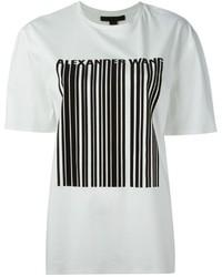Camiseta con cuello circular estampada en blanco y negro de Alexander Wang