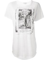 Camiseta con cuello circular estampada en blanco y negro de Ann Demeulemeester
