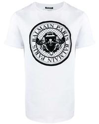 Camiseta con cuello circular estampada en blanco y negro de Balmain