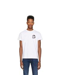 Camiseta con cuello circular estampada en blanco y negro de Diesel