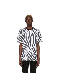 Camiseta con cuello circular estampada en blanco y negro de DOUBLE RAINBOUU