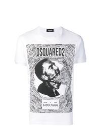 Camiseta con cuello circular estampada en blanco y negro de DSQUARED2