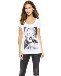 Camiseta con cuello circular estampada en blanco y negro de Eleven Paris