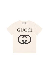 Camiseta con cuello circular estampada en blanco y negro de Gucci