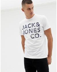Camiseta con cuello circular estampada en blanco y negro de Jack & Jones