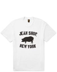 Camiseta con cuello circular estampada en blanco y negro de Jean Shop