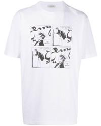 Camiseta con cuello circular estampada en blanco y negro de Lanvin