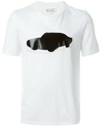 Camiseta con cuello circular estampada en blanco y negro de Maison Margiela