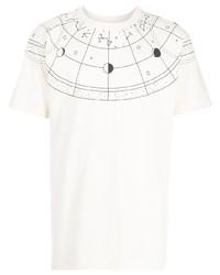 Camiseta con cuello circular estampada en blanco y negro de Marcelo Burlon County of Milan