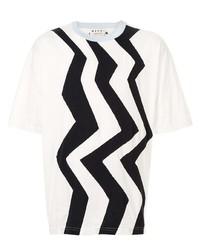 Camiseta con cuello circular estampada en blanco y negro de Marni