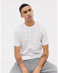 Camiseta con cuello circular estampada en blanco y negro de Mennace