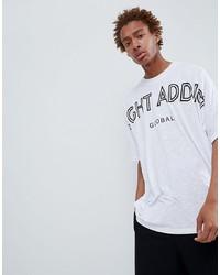 Camiseta con cuello circular estampada en blanco y negro de Night Addict