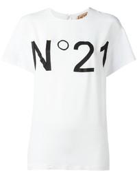Camiseta con cuello circular estampada en blanco y negro de No.21