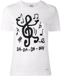 Camiseta con cuello circular estampada en blanco y negro de Paul Smith