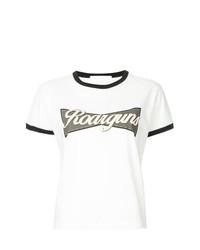 Camiseta con cuello circular estampada en blanco y negro de Roarguns