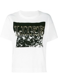 Camiseta con cuello circular estampada en blanco y negro de Sacai
