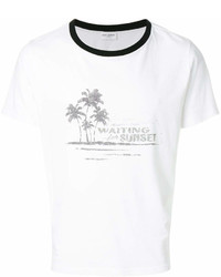 Camiseta con cuello circular estampada en blanco y negro de Saint Laurent