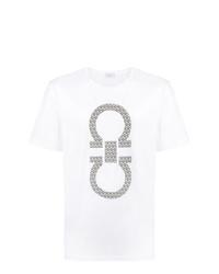 Camiseta con cuello circular estampada en blanco y negro de Salvatore Ferragamo