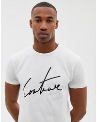 Camiseta con cuello circular estampada en blanco y negro de The Couture Club