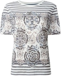 Camiseta con cuello circular estampada en blanco y negro de Tory Burch