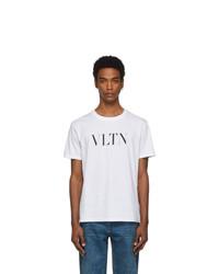 Camiseta con cuello circular estampada en blanco y negro de Valentino