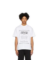 Camiseta con cuello circular estampada en blanco y negro de VERSACE JEANS COUTURE