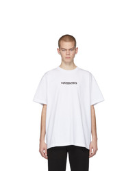 Camiseta con cuello circular estampada en blanco y negro de Vetements