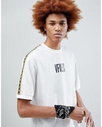 Camiseta con cuello circular estampada en blanco y negro de VFILES