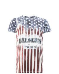 Camiseta con cuello circular estampada en blanco y rojo y azul marino de Balmain