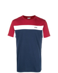 Camiseta con cuello circular estampada en blanco y rojo y azul marino de Fila