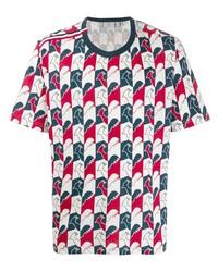 Camiseta con cuello circular estampada en blanco y rojo y azul marino de Rossignol