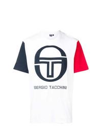 Camiseta con cuello circular estampada en blanco y rojo y azul marino de Sergio Tacchini