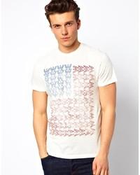 Camiseta con cuello circular estampada en blanco y rojo y azul marino de Wrangler
