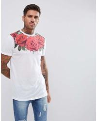 Camiseta con cuello circular estampada en blanco y rojo de Asos