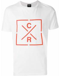 Camiseta con cuello circular estampada en blanco y rojo de CHRISTOPHER RAEBURN
