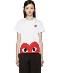 Camiseta con cuello circular estampada en blanco y rojo de Comme des Garcons