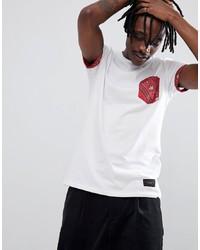 Camiseta con cuello circular estampada en blanco y rojo de Criminal Damage