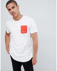 Camiseta con cuello circular estampada en blanco y rojo de Jack & Jones