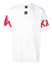 Camiseta con cuello circular estampada en blanco y rojo de Kappa